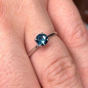 10k Natural Blue Diamond Ring
